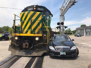 Train hits car that got too close in Rochester
