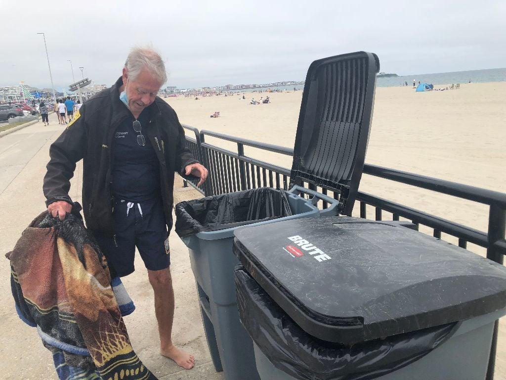 Hampton Beach lifeguard trash