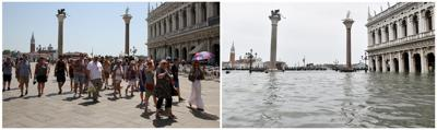Acombinationpicture shows St. Mark's Square before and after floods in Venice