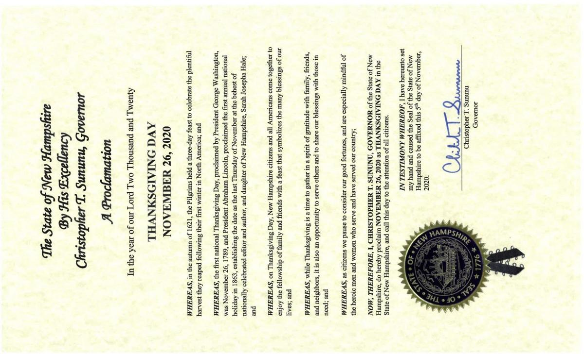 2020 proclamation of Thanksgiving in New Hampshire