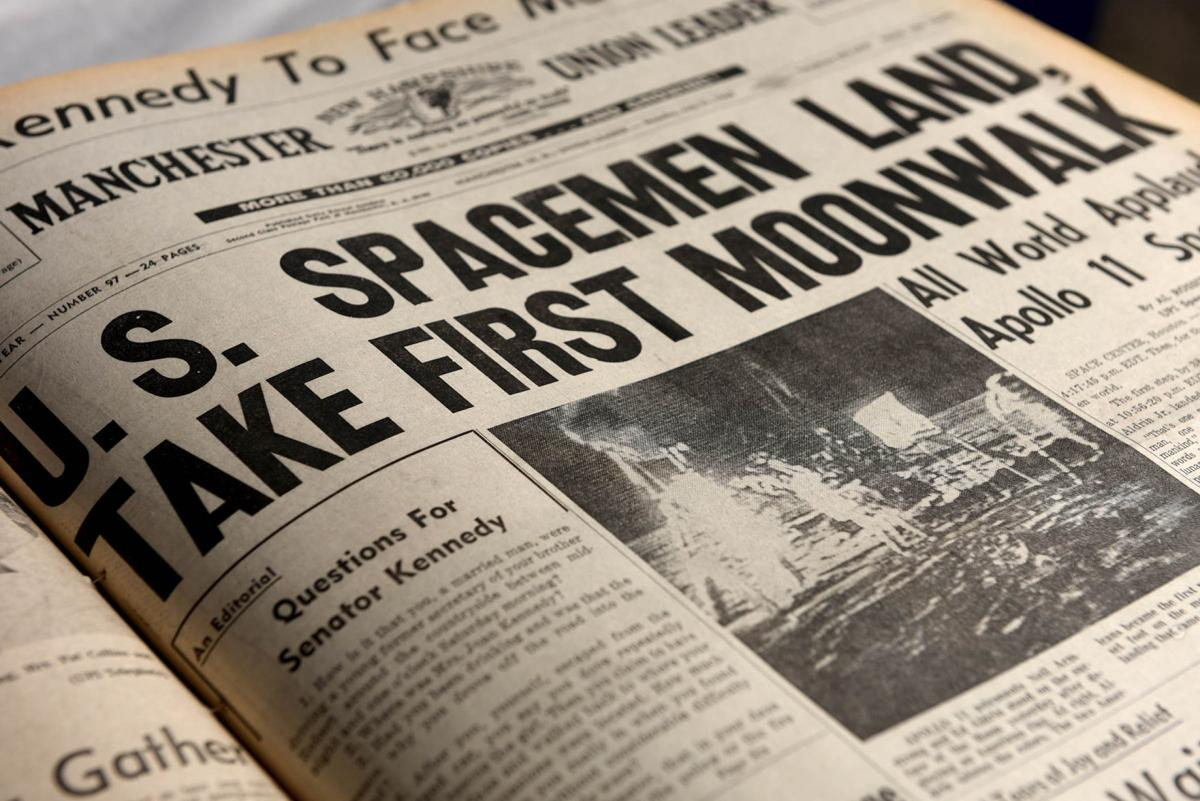Apollo 11 coverage in Manchester Union Leader from the Monday July 21, 1969 edition.