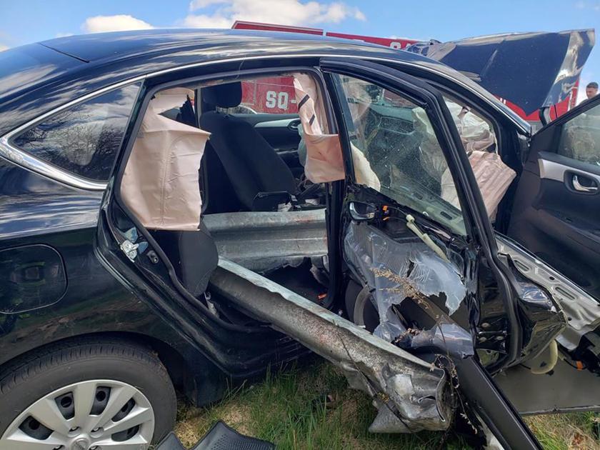 Guardrail slices through passenger compartment severing
