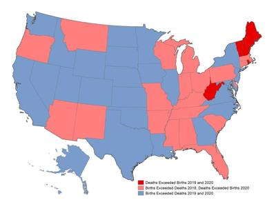 Map shows where deaths surpassed births
