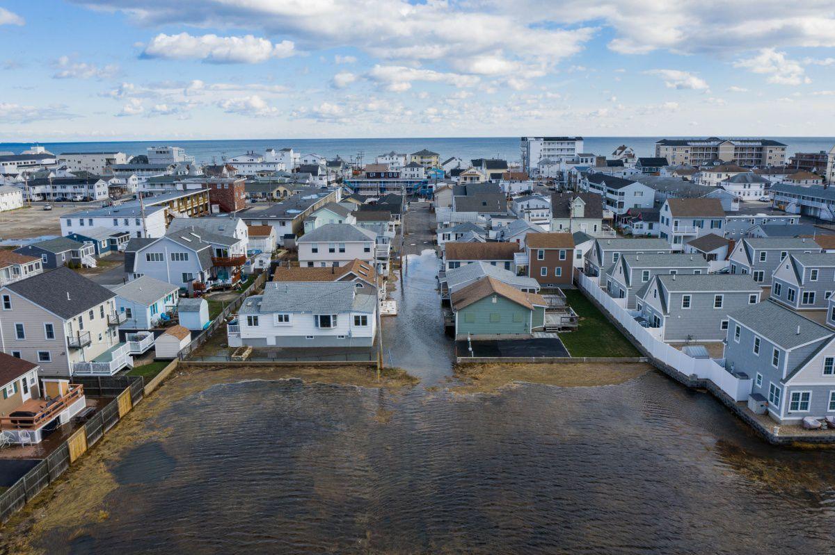Drone shot of Hampton flooding