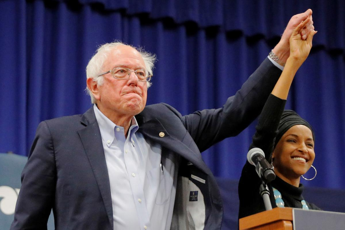Democratic 2020 U.S. presidential candidate Sanders is joined by U.S. Rep. Omar in Manchester