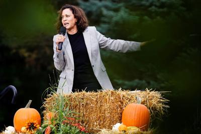 Kamala Harris, U.S. Senator and Democratic presidential hopeful,  speaks at the Polk County Democrats' Steak Fry in Des Moines