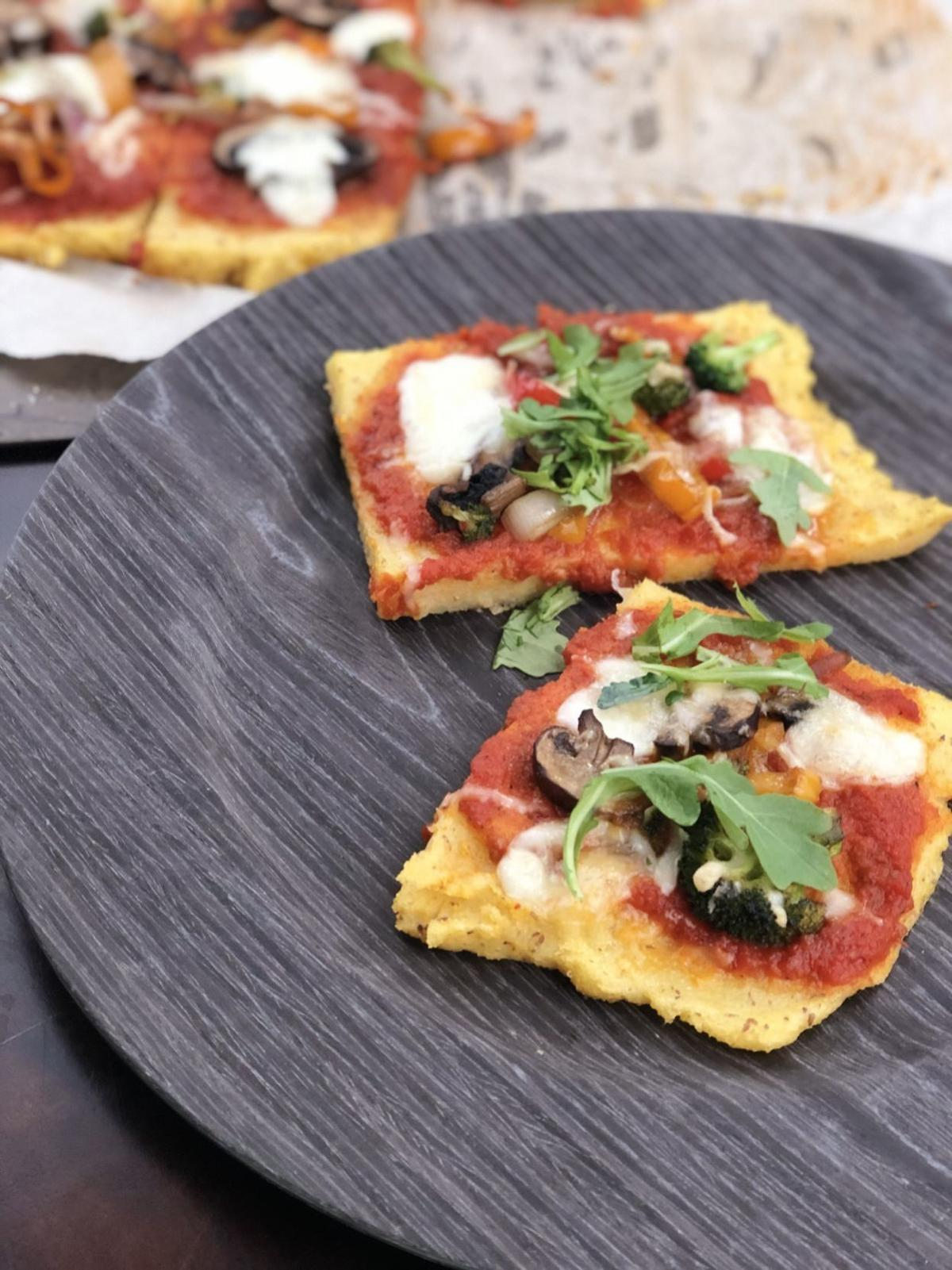 Polenta Pizza with Peppers and Arugula