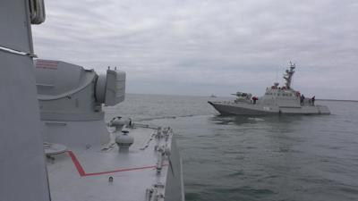 Small armoured artillery ship Nikopol is seen  during a drill in Black Sea