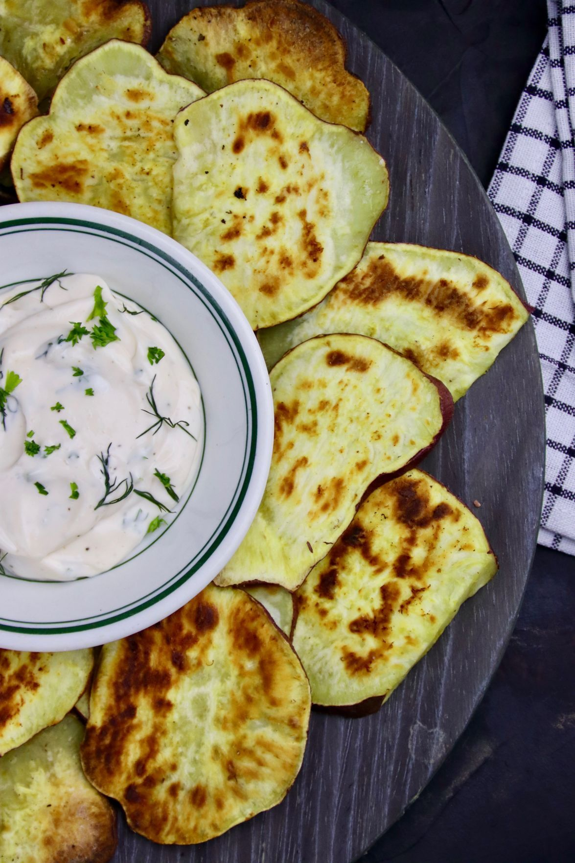 Roasted Batata Chips with Easy Aioli