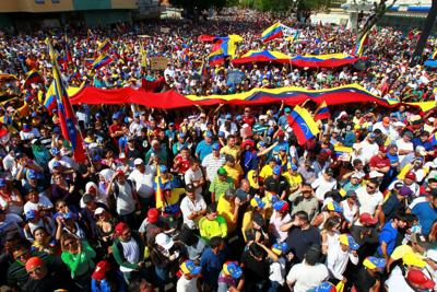 Opposition supporters rally against Venezuelan President Nicolas Maduro's government