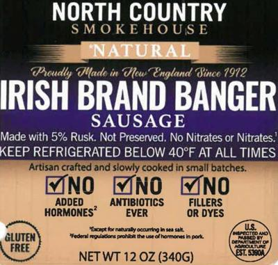 North Country Smokehouse recalls sausages mislabeled as gluten-free