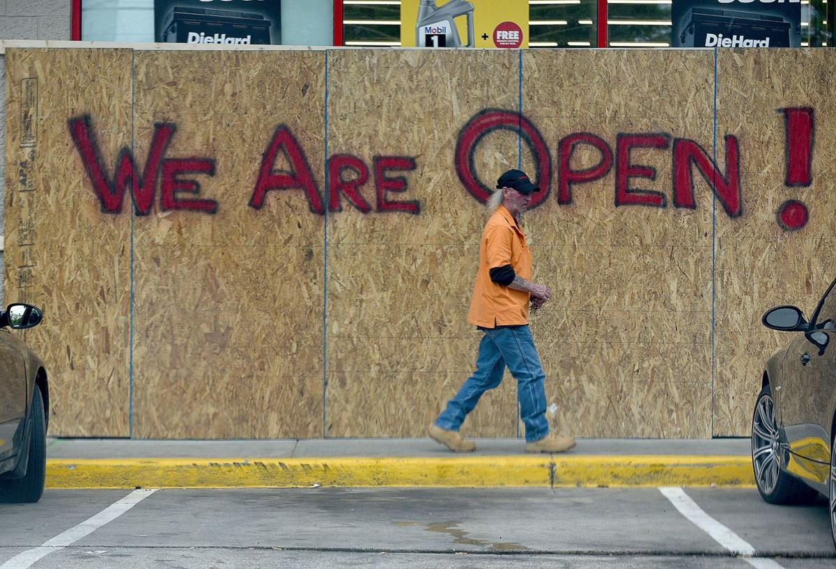 Businesses boarded up