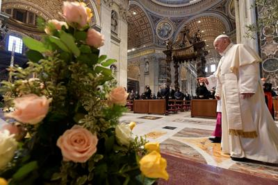 Pope Francis delivers his Urbi et Orbi blessing at St. Peter's Basilica at the Vatican