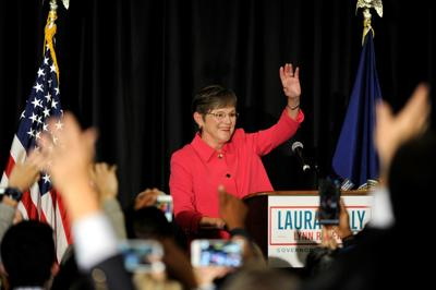 Democrat gubernatorial candidate Laura Kelly talks to her supporters at her election night party in Topeka
