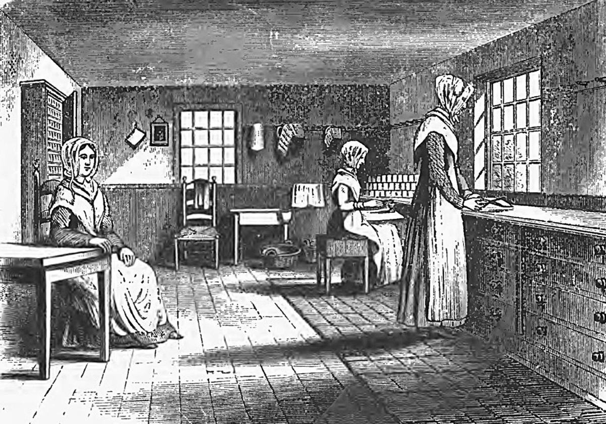 Shaker women at work