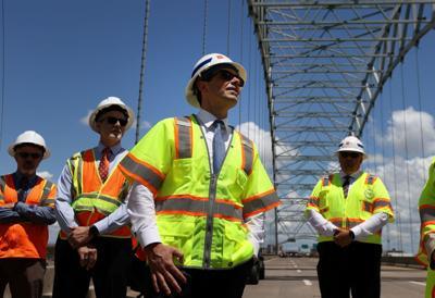 U.S. Secretary of Transportation Pete Buttigieg tours the closed Hernando De Soto bridge in Memphis