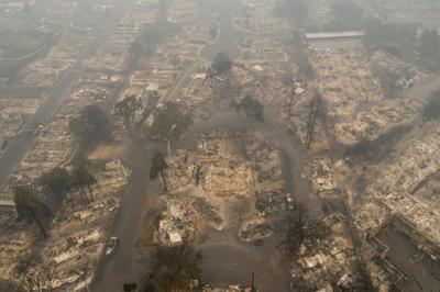 The gutted Medford Estates neighborhood in the aftermath of the Almeda fire in Medford, Oregon