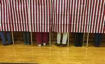 Voting booth at the polls