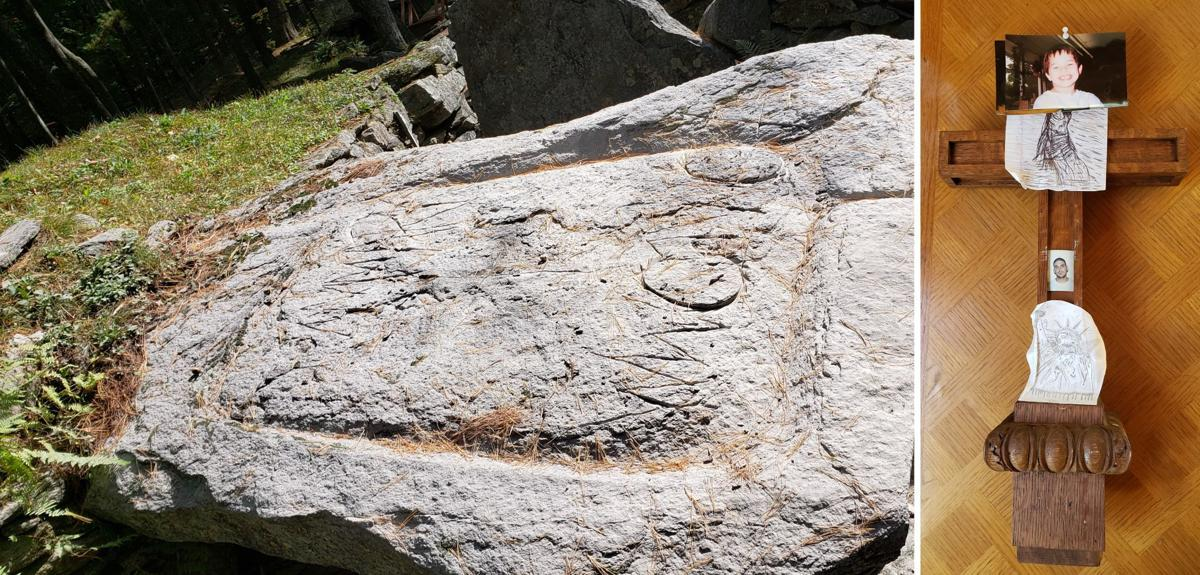 Sacrificial stone at America's Stonehenge vandalized with power tool, cross left behind