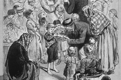 This illustration from the 1880s depicts a compulsory vaccination