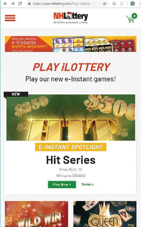 NH iLottery homepage