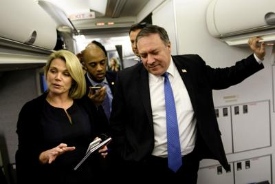 Spokesperson Heather Nauert while US Secretary of State Mike Pompeo dialogues with reporters in his plane while flying from Panama to Mexico