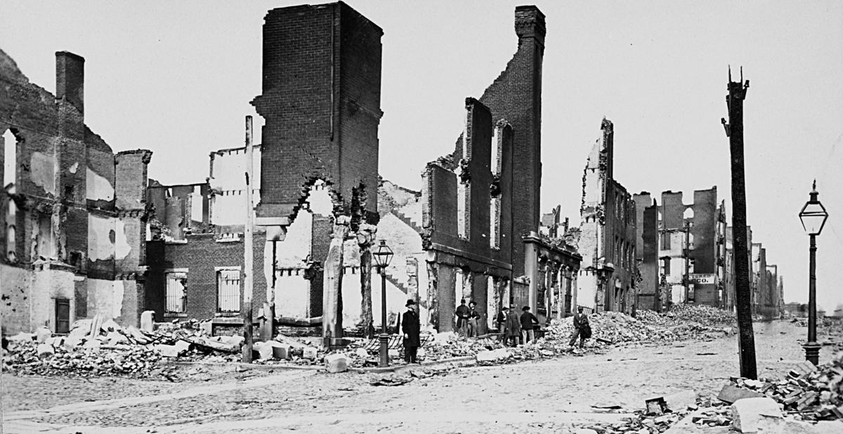 Photograph of ruins on Carey Street in Richmond, Va., April 1865