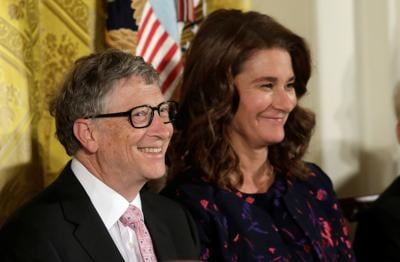 FILE PHOTO: Bill and Melinda Gates attend Presidential Medal of Freedom ceremony at White House in Washington