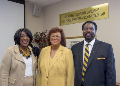 Left to right: ASU President Gwendolyn E. Boyd, Dr. Rubye Coleman Sanders, and Dr. Johnny Sanders, Jr.