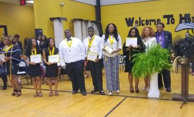 The NAACP scholarship recipients. From left to right: Keatrice Streeter, Miles College; T'Ericka Rodgers, Stillman College; Tyericka Rodgers, Stillman College (twins); Martez Lampley, Trenholm State Community College; Jacarri Hurt, Alabama A&M University, Tesia Hooks, Miles College; Taylor Poe, Alabama State University.