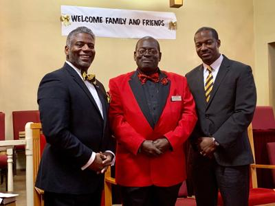 Left to right: Bullock County Football Coach and Minister Marc-Antoni Peacock, Reverend Gary Lewis, and Bullock County Football Coach and Minister Willie D. Spears, Jr.