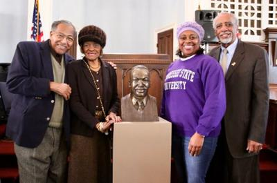 Left to right: Rev. Henry Rodgers, Minister Pinkie Rodgers, Kimberly Patrick, Commissioner John McGowan. Photo By Jacque Chandler