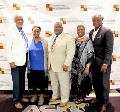 Commissioner John McGowan, Nat King Cole Society; Mrs. Rozelia Harris Nat King Cole Society; Dr. Howard O. Robinson, II, University Archivist, Alabama State University; Wanda Howard Battle, Nat King Society; William R. Ford, Vice President, The Patrons of the National Center.