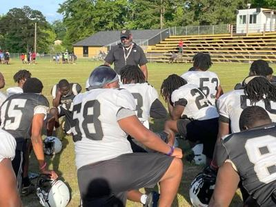 The Bullock County Hornets preparing for the spring game.