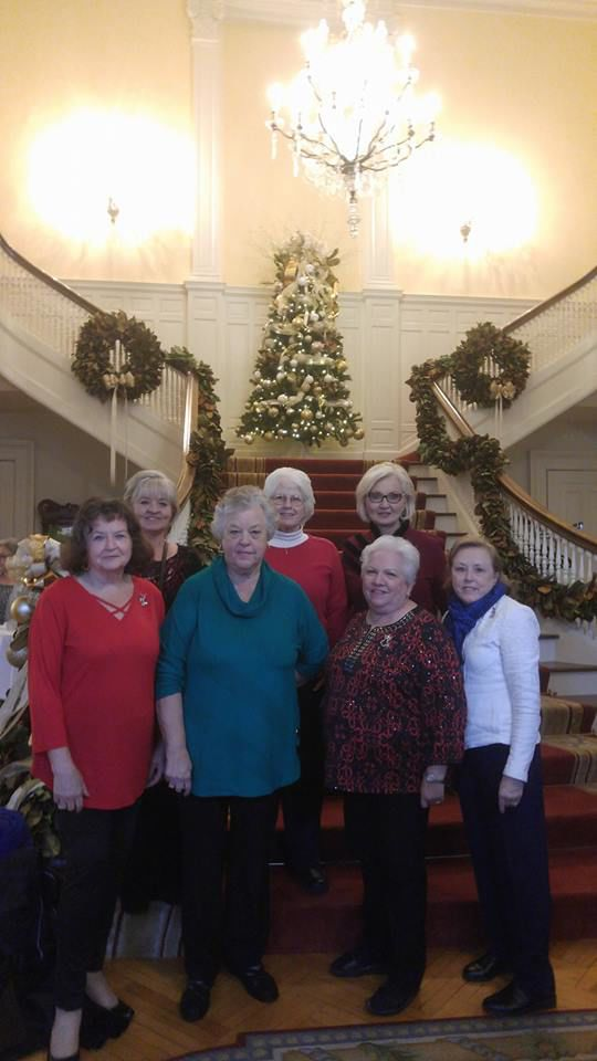 Members of the Chunnenuggee Garden Club pose on the stairs of the Governor's Mansion in Montgomery where they attended the Christmas Tea for garden clubs in December 2018. Front row, left to right: Faye Gaston, Sadie Pugh, Mary Seymour, and Joyce Turnipseed. Back row, left to right: Beth High, Sharon Capps, and President of the Alabama Garden Club, Inc.
