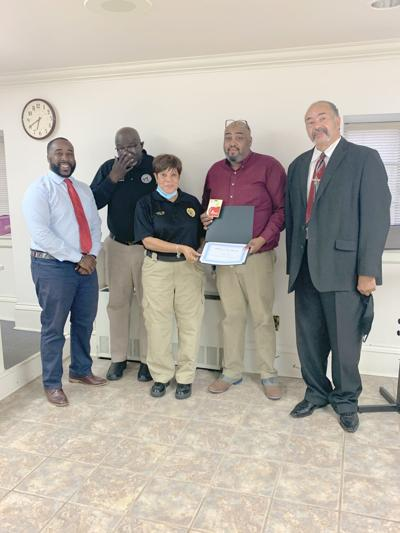 Mayor Roderick Clark, City Councilman Louis Murry, USPD Dispatcher Evelyn Ellis, Administrative Assistant / TAC Byron Heaird, and Police Committee Member Clarence Wheeler.