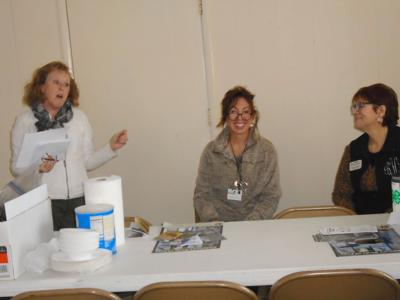 """Two representatives from 4-H Club presented a program on """"birding"""" at the January 9, 2020 meeting of the Chunnenuggee Garden Club.  Left to right: Joyce Turnipseed, Program Chairman; Shannon Andress, Regional Agent; and Brenda Henson, County Agent. (Photo by Faye Gaston)"""