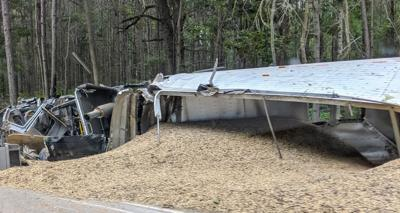An eighteen wheeler carrying a load of peanuts wrecked near mile marker 25 in Fitzpatrick on Wednesday, June 26, 2019.