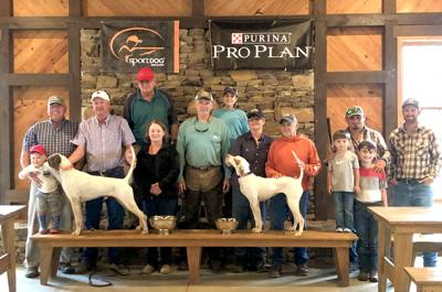 Left to right: Solon Rice, Brian Peterson, Hunter McDuffie with Dragonfly, Jim and Rhonda Hughes, Darron Hendley, Addison McDuffie, Fran and Jack Miller with Miller's Record heat, Judge Michael Martino with Hardy and Lucas Martino and Judge Tommy Rice.