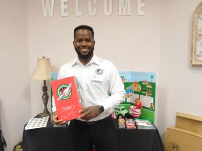 """At a special area meeting at Bush Baptist Church in Troy on October 3, 2021, Yves Dushime told how receiving a shoebox from """"Operation Christmas Child"""" transformed his life. Thirteen folks from Bullock County attended. (Photo by Faye Gaston)"""