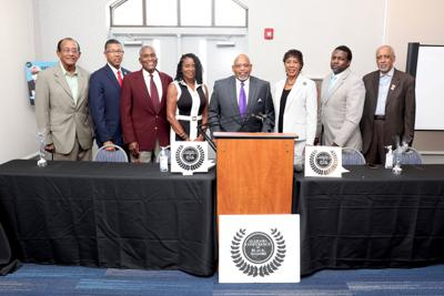 The Alabama Conference of Black Mayors met. Pictured left to right are George Evans, former mayor of Selma; Tony Haygood, mayor of Tuskegee; Johnny Ford, former mayor of Tuskegee; Helenor Bell, former mayor of Haneyville; Jason Ward, President of Alabama Conference of Black Mayors; Vickie Moore, former mayor of Slocomb and Executive Director of Alabama Conference of Black Mayors; William Scott, former mayor of Mosses; Bullock County Commissioner John McGowan, former mayor of Union Springs. Photo by Jaque Chandler