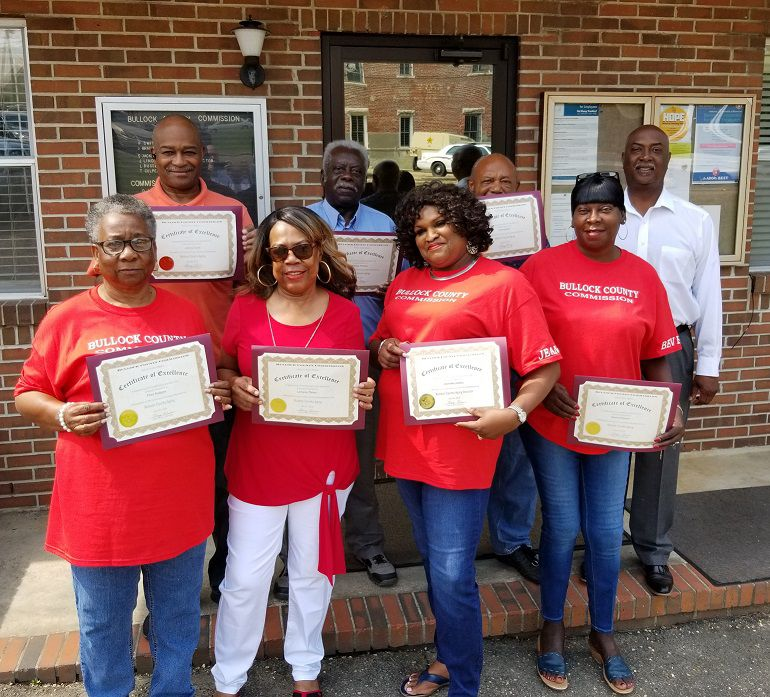 Bullock County Commission Chairman, Alonza Ellis, Jr., presented certificates in appreciation to employees.