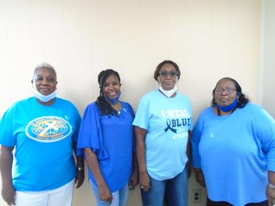 Pearlette Edwards, Bullock County Community Coordinator, and her team of Community Health Advisors, presented a program on early detection of Prostate Cancer at the Union Springs Senior Citizens Nutrition Center on September 29, 2021. Left to right, Bessie Caldwell, Pearlette Edwards, Margaret Hill; and Aronia C. Pritchett. (Photo by Faye Gaston)