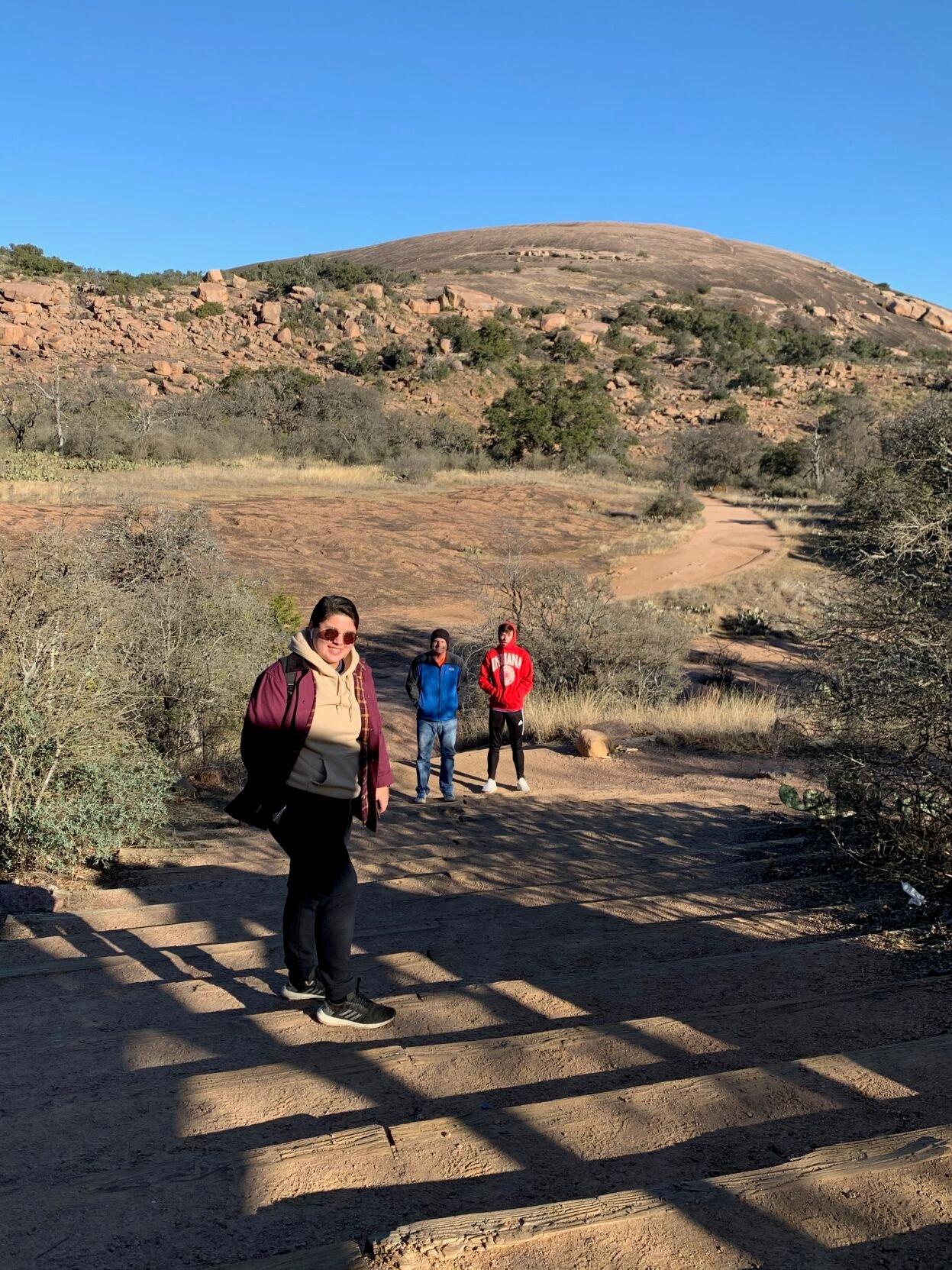 Sam hiking at Enchanted Rock