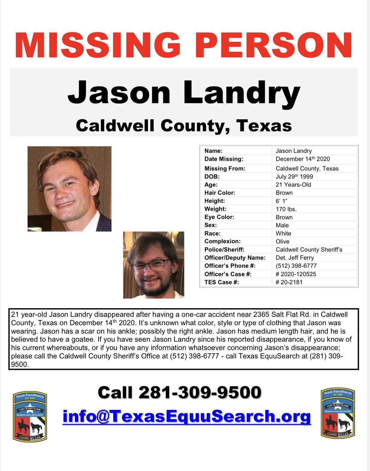 Jason Landry Missing Flyer