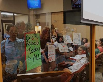 protesters at city council meeting
