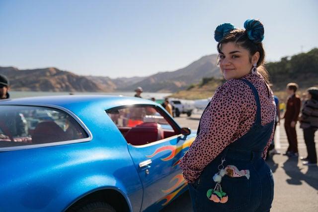 Jennifer Foster - blue car