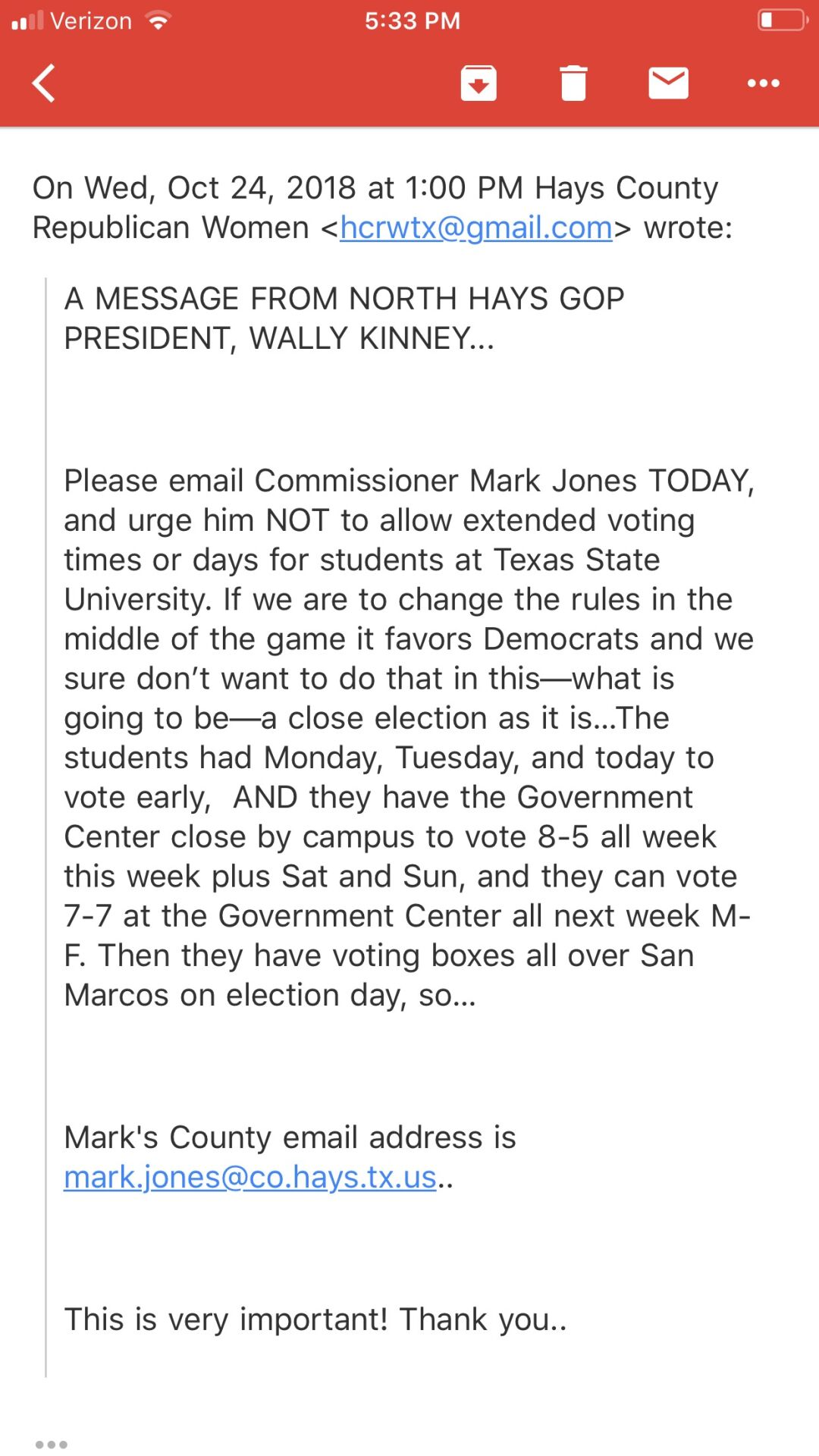 HCRW Email re Tx State Early Voting