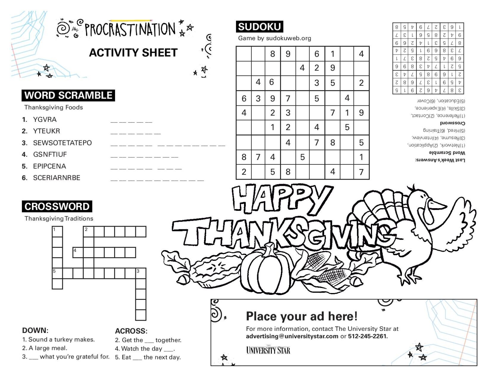 11/24 printable activity sheet.