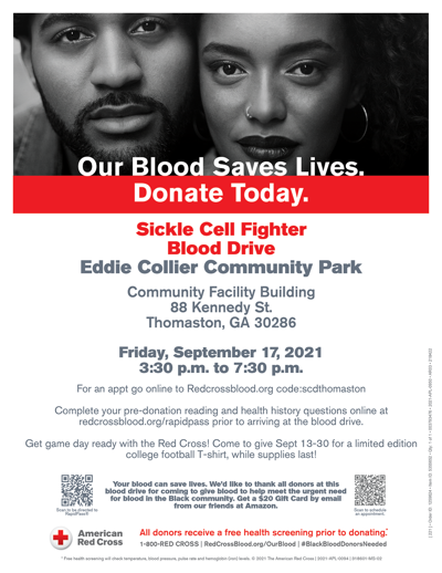 Sickle Cell Blood Drive is Sept. 17
